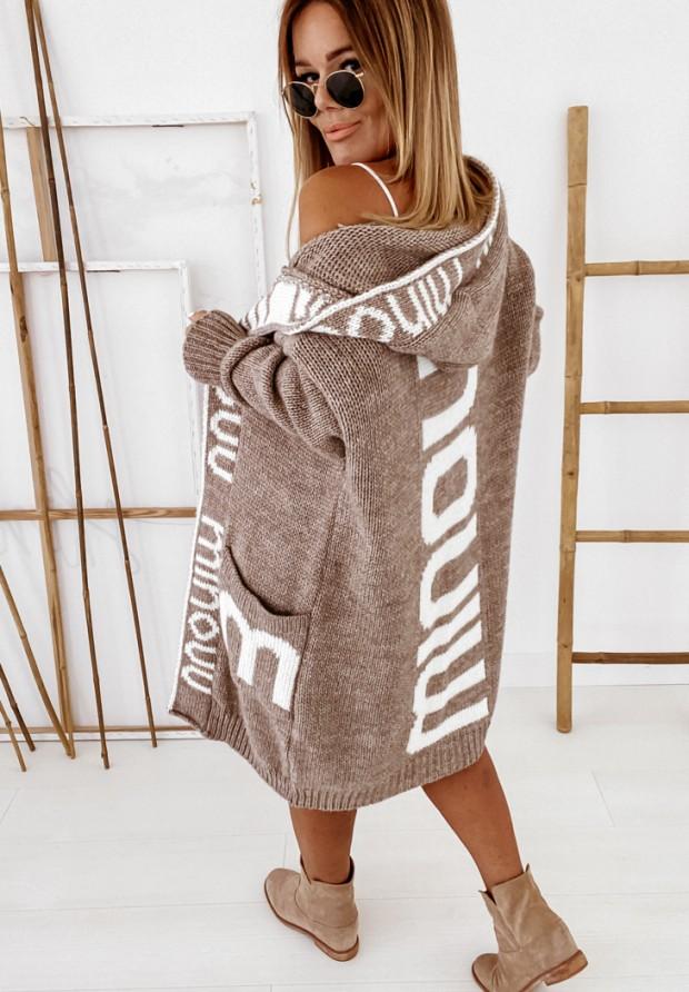 Sweter Kardigan Inscription Mokka