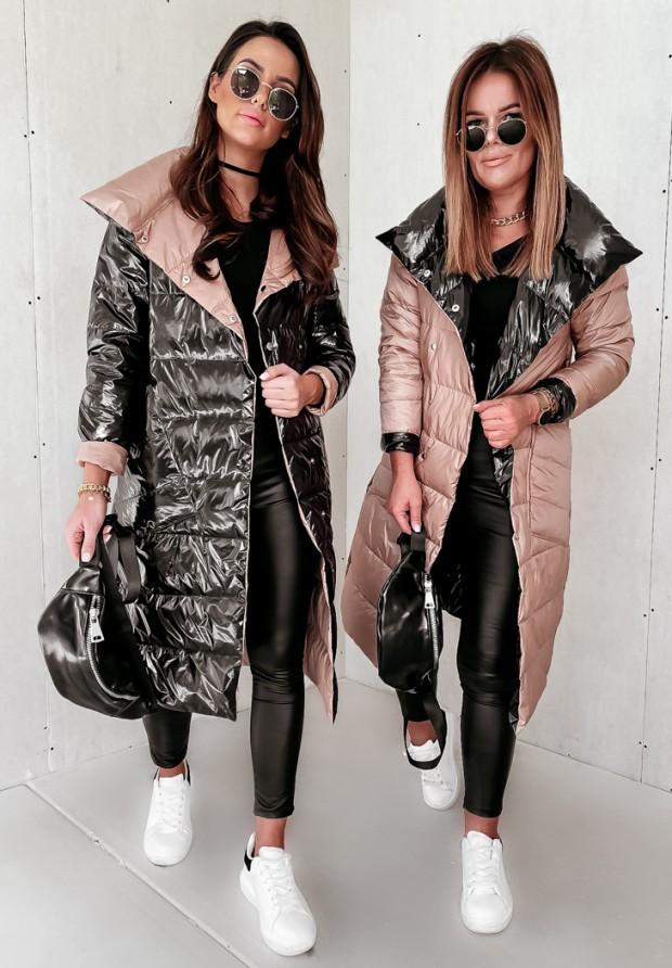 Kabát Obojstranný  Cover Shine Black&Camel