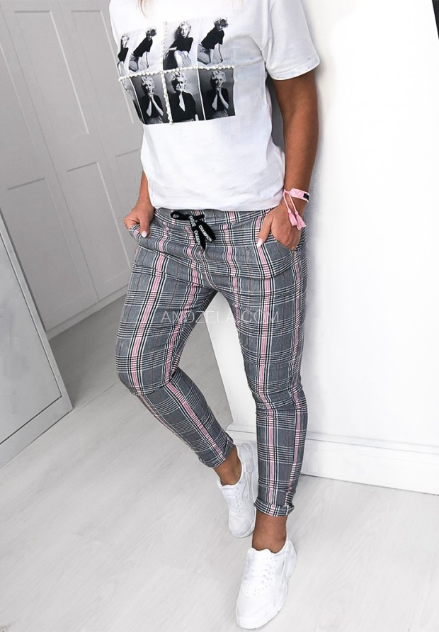 337 Spodnie Krata Pink