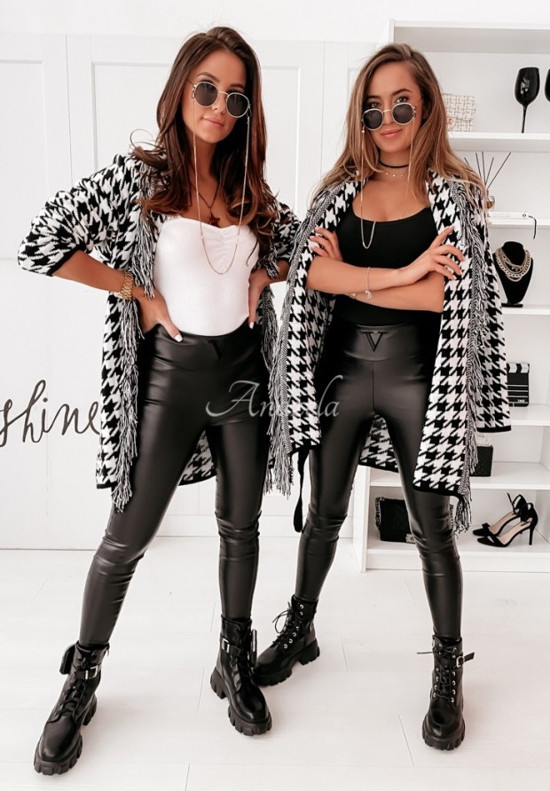 Nohavice Z Imitace Kůže Velsatino Black