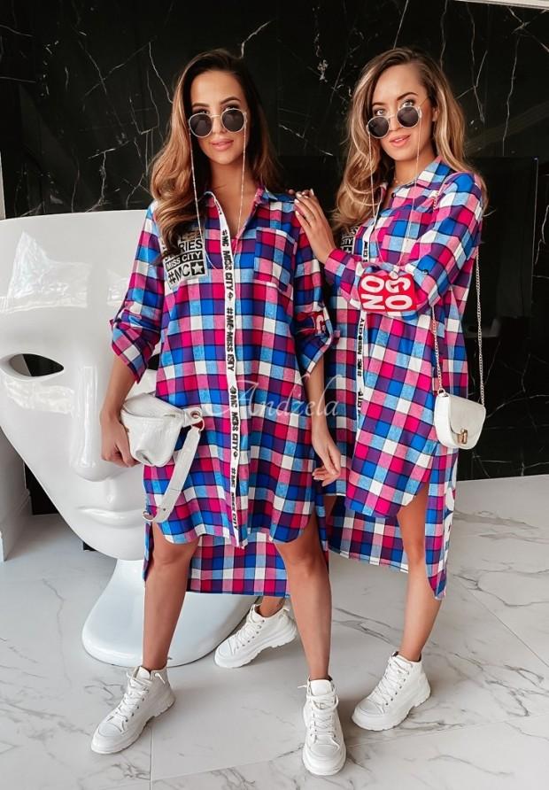 Šaty Košeľa MC Back Blue&Pink
