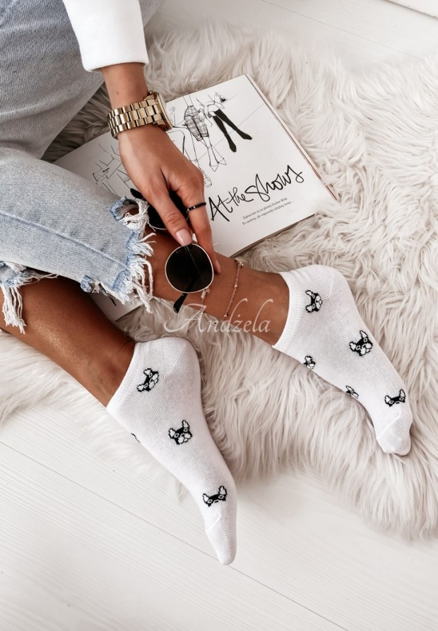 Ponožky Doggy White