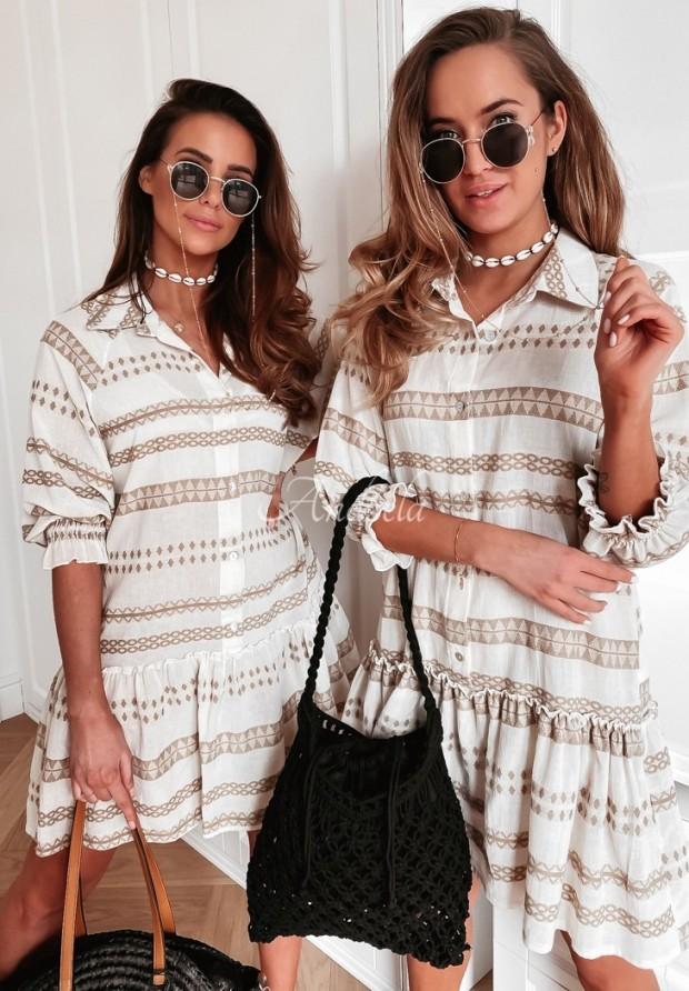 Šaty Carlina Aztek Ecru&Beige