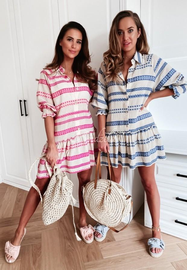 Šaty Carlina Aztek Ecru&Pink