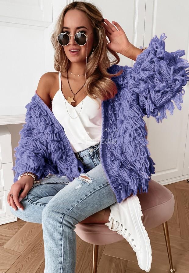 Sveter Kardigan Fringe Lavender