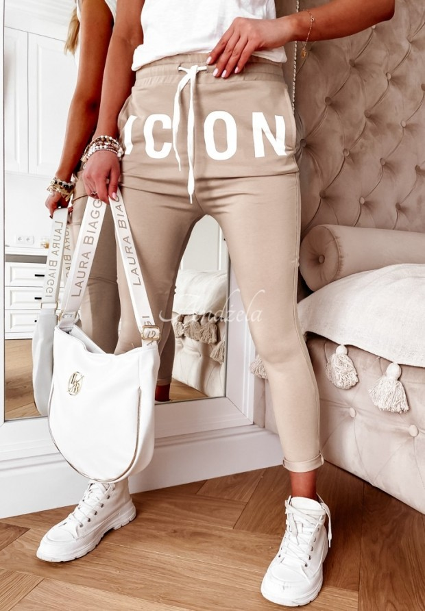 Nohavice Teplákové Icon Beige