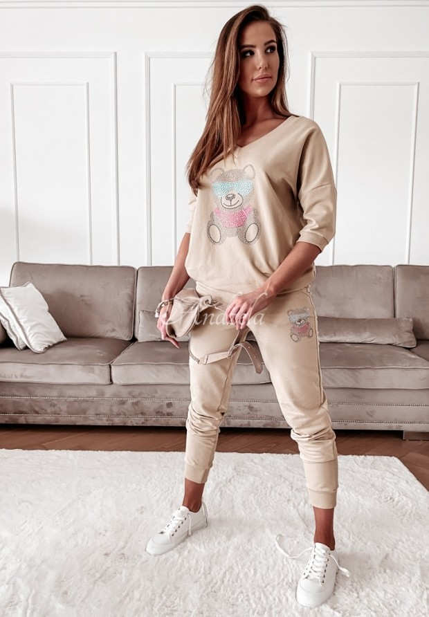 Nohavice Teplákové Teddy Crystal Beige