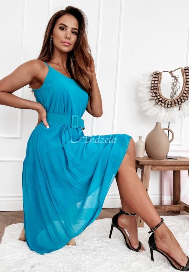 Šaty Plisa Norte Turquoise