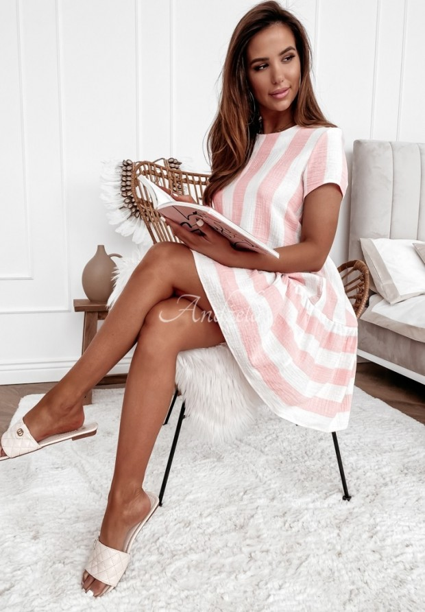 Šaty Tunika Prúžky Opuncia Powder&White