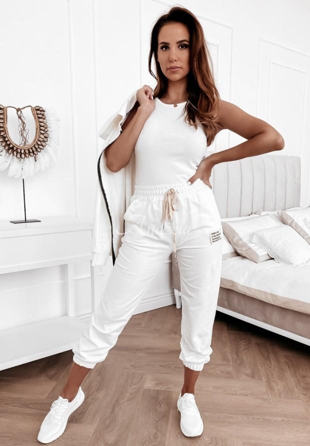 Nohavice Teplákové Sporty Chic White