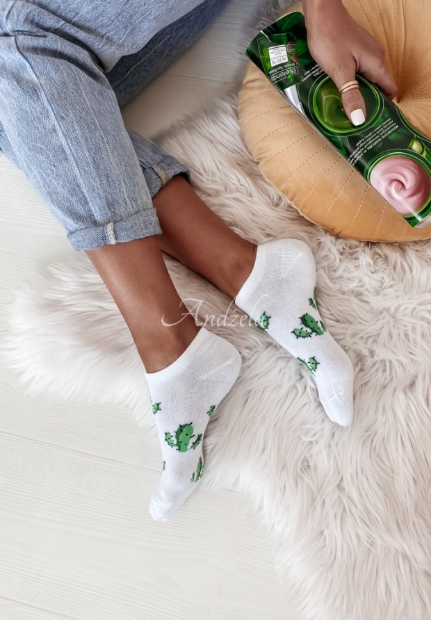 Ponožky Cactus White