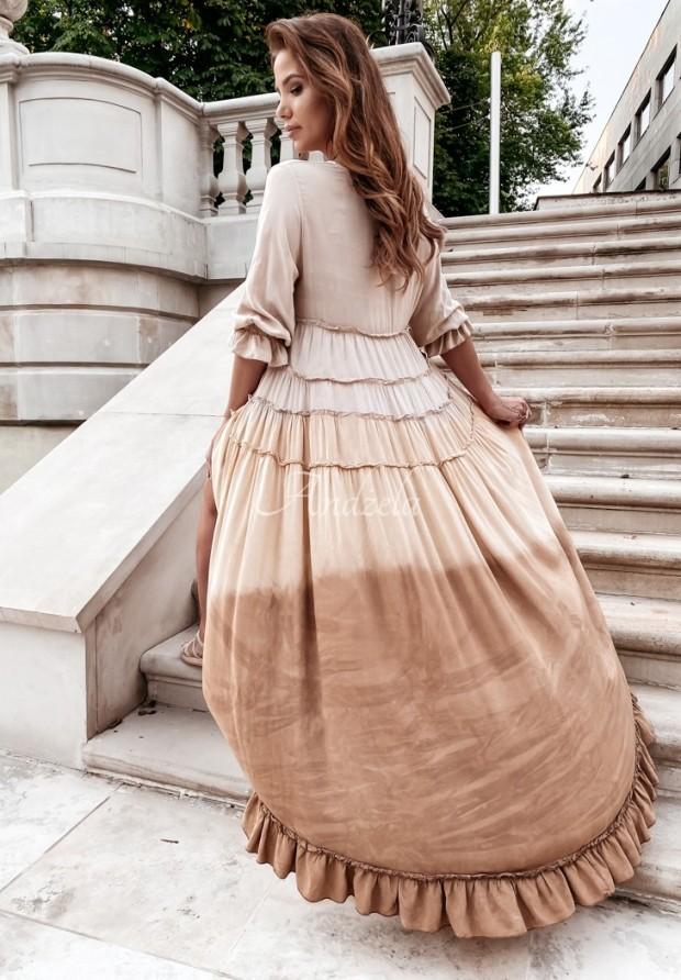 Šaty Ombre Flair Beige&Camel