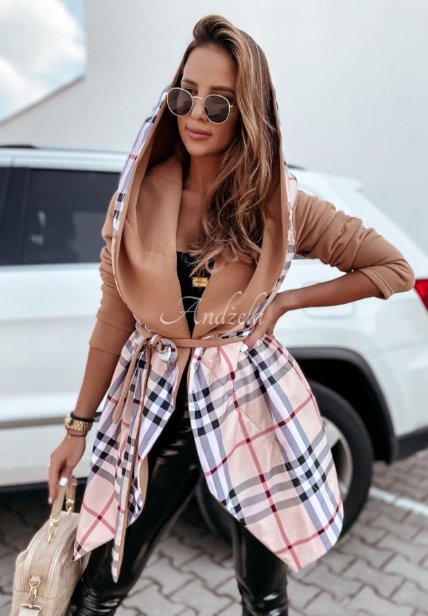 Kabát Bethany Káro Camel