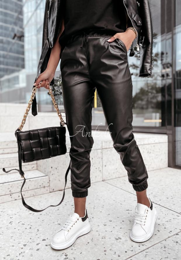 Nohavice Z Imitace Kůže Venice Black