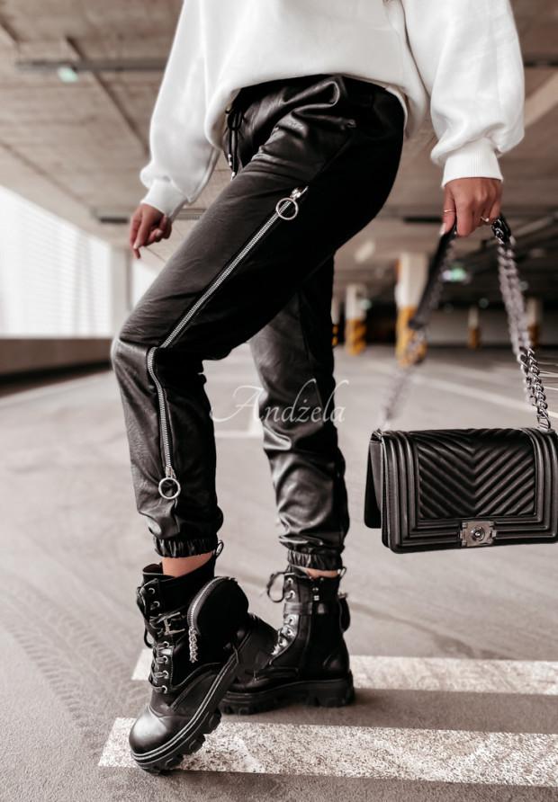 Nohavice Z Imitace Kůže Morena Black