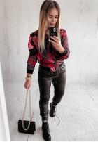 Mikina Bomberka Red Roses Black