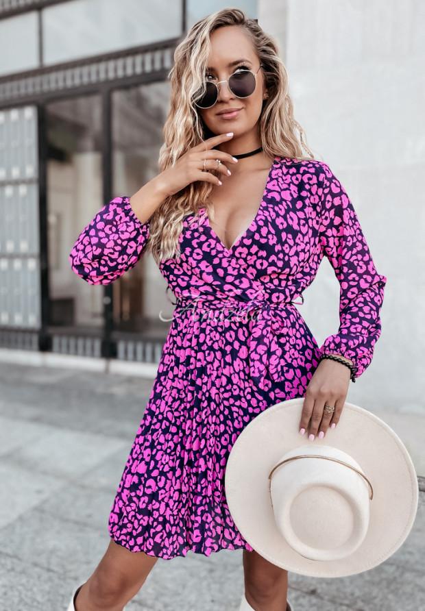 Šaty Plisa Rory Zvířecí motiv Pink