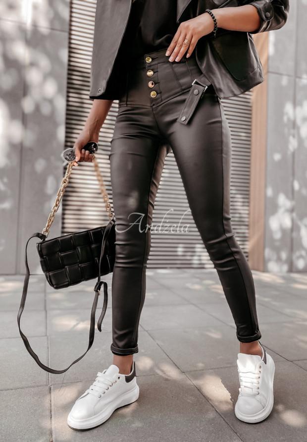 Nohavice Z Imitace Kůže Navana Black