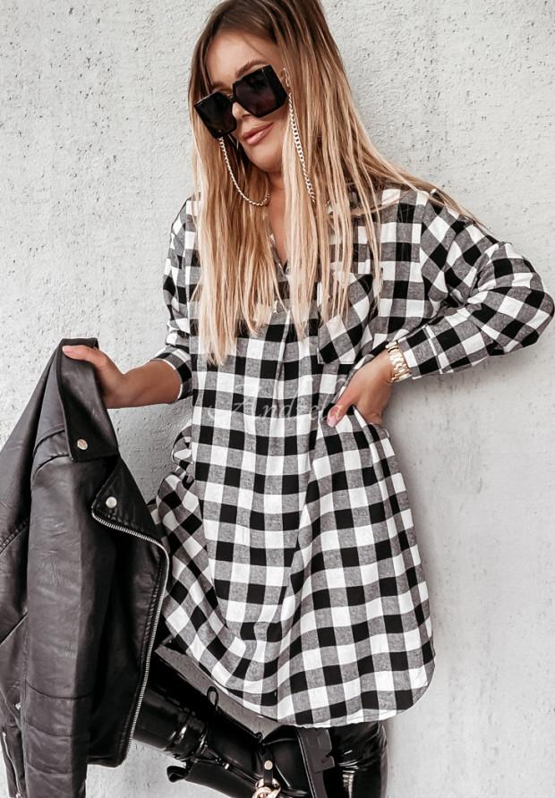 Šaty Košeľa Káro Adana Black&White