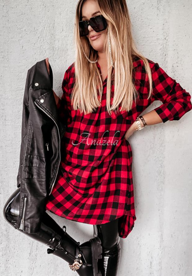 Šaty Košeľa Káro Adana Red&Black
