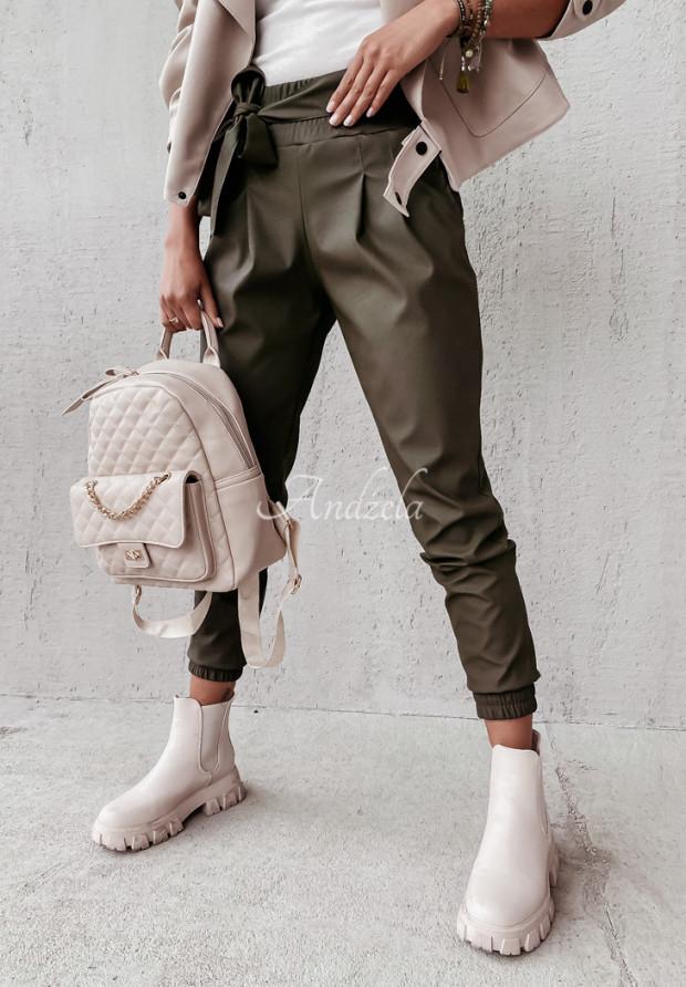 Nohavice Z Imitace Kůže Aldona Khaki