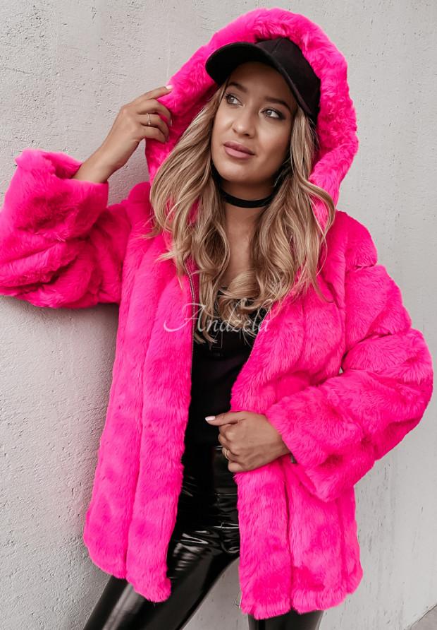 Bunda Futro Ashley Neon Pink