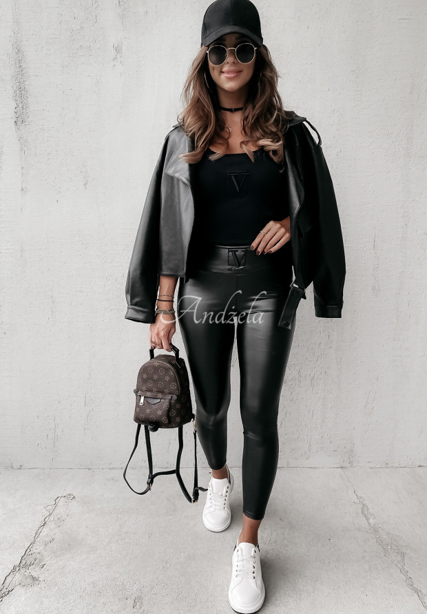 Nohavice Z Imitace Kůže Velsatino Lia Black