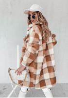 Kabát Kožuch Káro Abeil Ecru&Camel